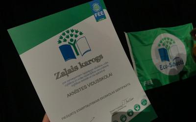 Ekoskolas Zaļais karogs plīvos pie Aknīstes vidusskolas arī 2019./2020. m.g.