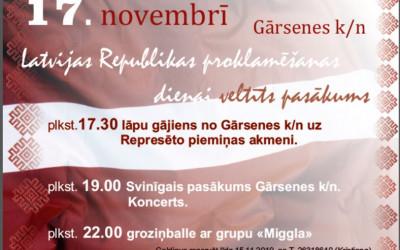 Latvijas Republikas proklamēšanas dienai veltīts pasākums