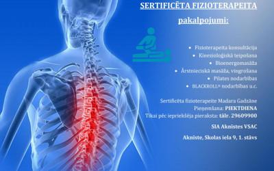 """SIA """"Aknīstes VSAC"""" ir pieejami sertificēta fizioterapeita pakalpojumi"""