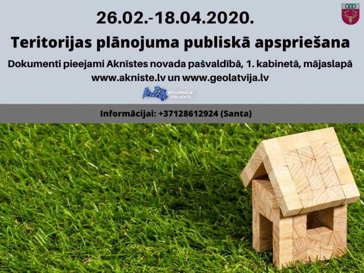 Aknīstes novada teritorijas plānojuma pirmās redakcijas publiskā apspriešanas termiņš tiek pagarināts līdz 18. aprīlim.