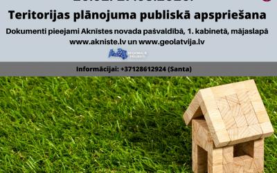 26.februārī sāksies jaunā Aknīstes novada teritorijas plānojuma pirmās redakcijas publiskā apspriešana, kas ilgs līdz 27. martam.