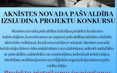 Aknīstes novada pašvaldība izsludina projektu konkursu iedzīvotājiem.