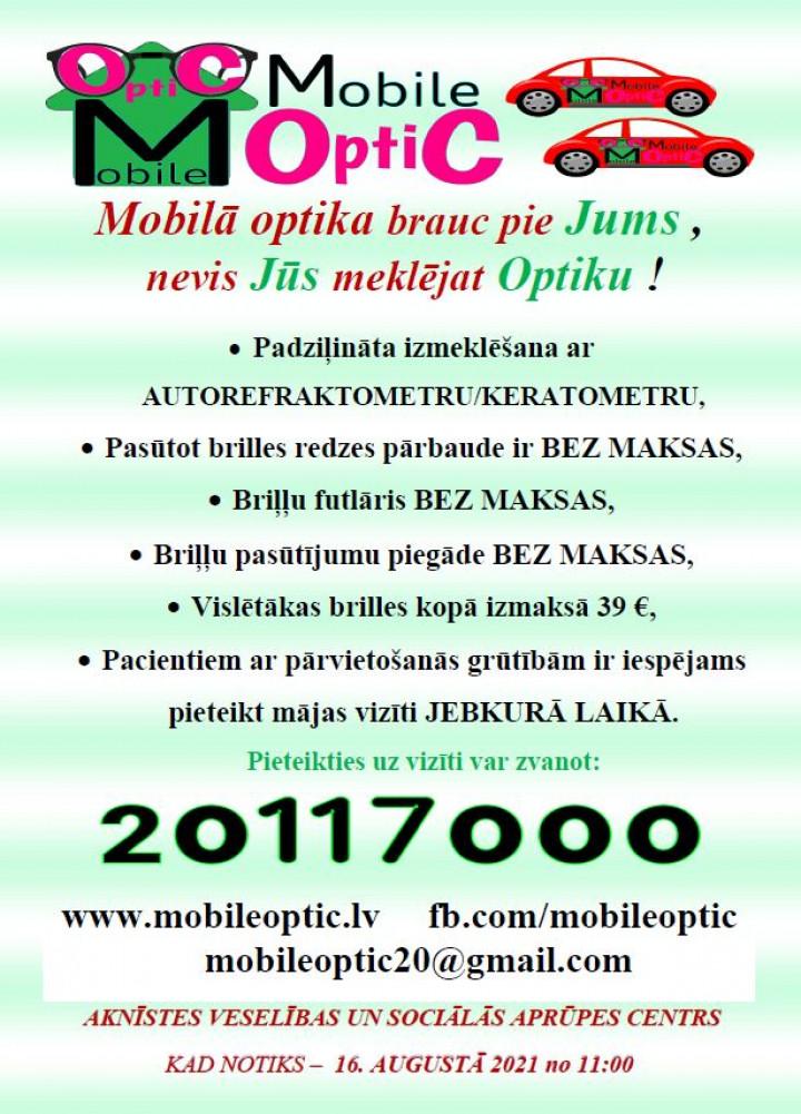 """SIA """"Mobile""""  piedāvā iespēju saņemt optometrista pakalpojumu"""